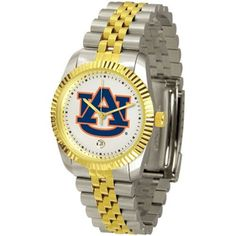 """Auburn Tigers NCAA """"Executive"""" Mens Watch by SunTime. $157.95. Two-Tone Solid Stainless Steel Band. Stainless Steel Case. 23kt Gold Plate Bezel. Calendar Date Function. Safety Clasp. Elegant design for the modern man or woman who wants to show their team spirit! The dial is presented in a sleek, stainless steel case and bracelet that rests fashionably yet comfortably across the wrist. Features a convenient date display, quartz accurate movement and a scratch r..."""