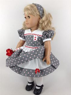 Dress in Black/White/Red, Petticoat, & Hair Tie for American Girl Doll Sewing Doll Clothes, American Doll Clothes, Girl Doll Clothes, Barbie Clothes, Girl Dolls, Ag Dolls, Sewing Pants, Doll Dress Patterns, Sewing Patterns Girls