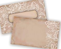 Shabby Chic Lace Rose Printable Blank Cards Can be by VGInvites