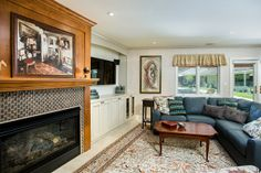Fireplace makeover with glass mosaic tiles