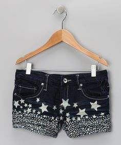 Perfect to go with my cosmic cat shirt - Take a look at this YMI Jeans Dark Wash Star Shorts on zulily today!