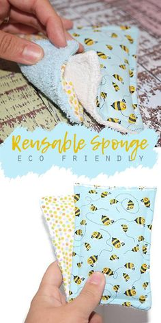 Replace your store-bought disposable sponges with these cute and practical reusable sponges. Simply throw these in the washer or even the dishwasher. Fabric Crafts, Sewing Crafts, Limpieza Natural, Craft Projects, Sewing Projects, Diy Blog, Natural Cleaning Products, Sewing Hacks, Sewing Tips