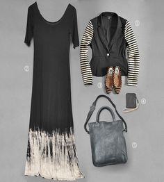 1. Stripe sleeve blazer in black and tan   2. Bleach Hem maxi dress in black  3. Chelsea Flat in tan and black stripe  4. Will Leather iphone wallet 5. Cowboy Dover Tote in charcoal