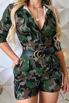 Women Lapel Camouflage Print Loose Romper 2019 New High Waist Bottom Buttoned Jumpsuits Button Casual Short Overalls Short Jumpsuit, Casual Jumpsuit, Short Overalls, Camo Outfits, Fashion Outfits, Womens Fashion, Fashion Wigs, Rompers Women, Work Casual