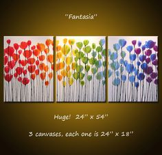 Art Rainbow Painting Triptych Large Flowers Abstract Modern Floral Landscape .. red yellow blue green ...24 x 54 .. Fantasia, Amy Giacomelli by AmyGiacomelli on Etsy https://www.etsy.com/listing/79357123/art-rainbow-painting-triptych-large