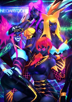 KDA – League of legends- by NeoArtCore - Minecraft, Pubg, Lol and Lol League Of Legends, Evelynn League Of Legends, Akali League Of Legends, League Of Legends Characters, Demon Manga, Character Art, Character Design, Cyberpunk Art, Fantasy Girl
