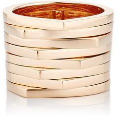 Repossi Women's Phalanx Eight-Row Antifer Ring (£3,220) ❤ liked on Polyvore featuring jewelry, rings, colorless, 18k rose gold ring, band jewelry, 18 karat gold ring, mid finger rings and mid knuckle rings