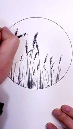 Art Drawings Beautiful, Art Drawings Sketches Simple, Easy Drawings, Sketches Of Flowers, Cool Simple Drawings, Simple Nature Drawing, Easy Nature Drawings, Drawing Ideas, Simple Flower Drawing