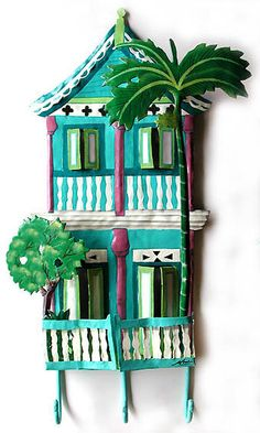 "Wall Hook - Turquoise Caribbean Gingerbread House Towel Hook - Tropical Decor - Painted Metal Tropical Art Design - 11"" x 17"" - K-1003-TQ-HK by TropicAccents on Etsy"