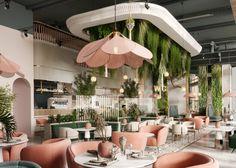 VWArtclub - WHITE GARDEN LOUNGE Coffee Shop Interior Design, Bar Interior, Cafe Design, Retail Interior Design, Modern Restaurant Design, Restaurant Concept, White Restaurant, Restaurant Exterior, Café Exterior