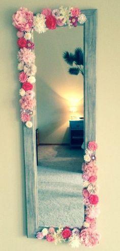 Teen decor -Hot glue small silk flowers on cheap over door mirror.