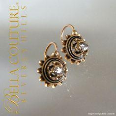 (ANTIQUE) Georgian or Victorian Rose Cut Diamond 18K Gold Enamel Earrings Circa late 1700s - 1830s Fine Jewelry