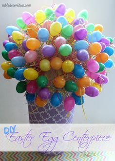 DIY Easter Egg Centerpiece- this is frugal and super cute and creative to do for Easter! #easterideas #easterdiy