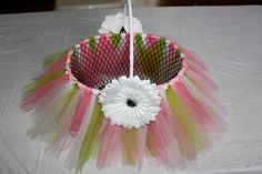 PINKS WHITE and GREEN Tulle Basket  for decor by Fancy4Me on Etsy, $23.00 EASTER, FLOWER GIRL, BABY ACCESSORY, Decoration
