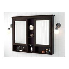 HEMNES Mirror Cabinet With 2 Doors, Black Brown Stain Black Brown Stain 47  1/4x38 5/8