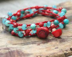 Bracelet Wrap Crocheted Bracelet Stacking by JonaraBluMauiJewelry