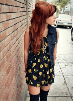 Sunflower dress + knee high socks + denim vest