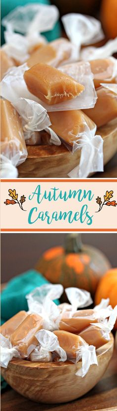 Autumn Caramels - luscious buttery caramels packed with delicious spices. These taste like a bite of fall! | From candy.about.com