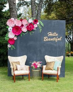 Wedding Photobooth Backdrop With Paper Flower Decor
