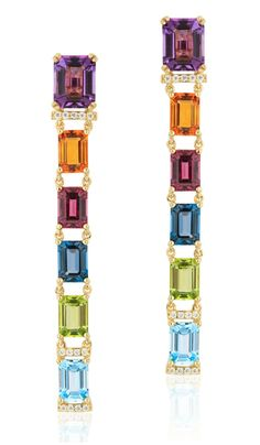 Long and lovely rainbow gemstone earrings byGoshwara.