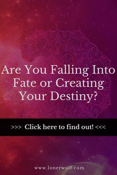 Fate is very different from destiny, so don't get them confused! via @LonerWolf