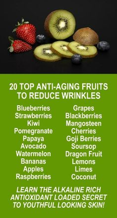 20 Top Anti-Aging Wrinkle Reducing Fruits. Our incredible alkaline rich, antioxidant loaded, products slow down the aging process and help your body increase energy, detox, cleanse, burn fat and lose weight more efficiently without changing your diet, inc #AntiAgingTips
