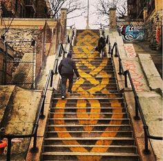 Art on the stairs in the Bronx