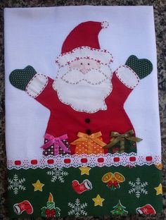 Mais um de natal *----*pano de prato com papai noel Christmas Patchwork, Christmas Sewing, Christmas Embroidery, Christmas Art, Christmas Projects, Applique Patterns, Applique Quilts, Applique Designs, Quilt Patterns