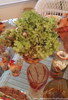 Limelight Hydrangea Centerpiece for a beautiful fall table setting from Between Naps on the Porch.