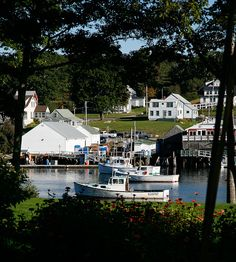 Lobster boats and docks in New Harbor, Maine.... A great place for lunch in a beautiful inlet before heading to the Pemaquid   Point Light House