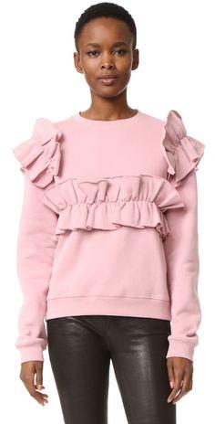 MSGM Ruffle Cotton Sweatshirt   SHOPBOP