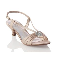Carly Nude Satin Rhinestone Low Heel Dress Shoes