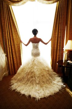 backless mermaid feathered wedding dress
