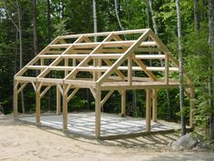 Completed Barns - Maine Barn Company Source by BruggerK. Timber Frame Garage, Timber Frame Cabin, Timber House, Modern Courtyard, Courtyard House Plans, Pole Barn Designs, Roof Truss Design, Basement House Plans, Pole Barn Homes