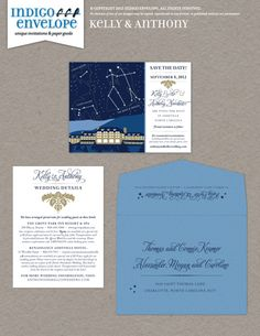 This couple's creative save the date began a series of wedding stationery that included astronomy. We drew the couple as Gemini and their dogs as Canis Major and Canis Minor. We also drew the Grove Park Inn in Asheville, North Carolina, where the wedding took place. #nerdyweddings #indigoenvelope
