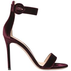 GIANVITO ROSSI 100mm Velvet Sandals ($790) ❤ liked on Polyvore featuring shoes, sandals, heels, sapatos, burgundy, high heel sandals, heeled sandals, burgundy shoes, velvet sandals and burgundy velvet shoes