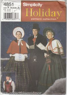 ♥Christmas Dickens Victorian Carolers Costumes Simplicity Sew Pattern 4851 Uncut