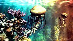 Underwater world painting