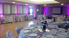 Lavender wedding theme with banquet chair covers and table cloths provided by Party Palace in Bloomington, IL. https://www.facebook.com/PartyPalaceWeddings