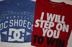 Nike Red and DC Shoes Blue T Shirts Medium Mens Unisex Sports Shirts M Tee #DCShoesandNike #BasicTee