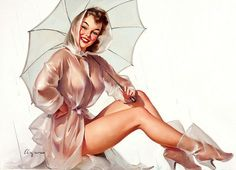 Gil Elvgren That raincoat is perfect - keeps the water out and let's the sun (and stares) in. This painting appeared in a Simoniz Wax Ad.