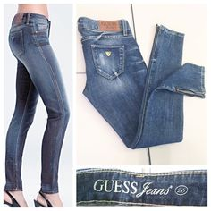 """Guess """"Beverly"""" Slim Leg Skinny Ankle Jeans In excellent condition. Worn only one time. Medium distressed wash. Ankle zippers. Tag says """"stretch"""", but I don't consider them that stretchy (98% cotton, 2% spandex), but enough to make them comfortable. Measurements: 7"""" front rise, 12"""" back rise, 29.5"""" inseam, 10.5"""" leg opening, 14.5"""" waist (flat). Size 26. Guess Jeans Skinny"""