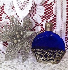 Perfume Glass Bottle  Dragonfly Cobalt   by CoCoBlueTreasures