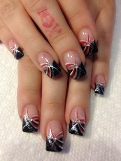 01 Elegant Black Nail Art Designs that You'll Love - Red, white and Blue Nail Art - Nagel Ideen Fancy Nails, Pretty Nails, Cute Nails, My Nails, Fingernail Designs, Nail Polish Designs, Acrylic Nail Designs, Acrylic Nails, French Nail Designs