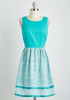 Fab Ferry Tour Dress. Looking to take in some seaside sights, you climb aboard the boat in this cottony teal frock! #green #modcloth