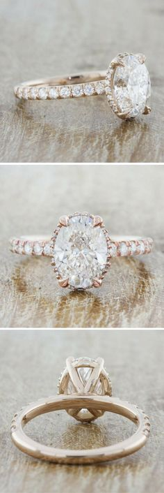 Samanthina is a rose gold engagement ring that represents the amazing balance of nature. The four-leaf prongs that guard the center stone is symbolic of the four seasons that keep our world in perfect harmony.  Customize this ring to your liking today!