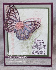 2015 Handmade card using Butterfly Basics stamp set and Butterflies Thinlits from Stamping Madly