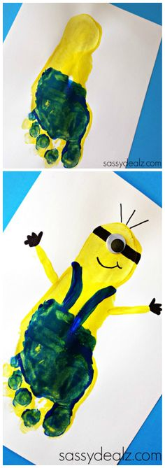Minion Footprint Craft for Kids #DespicableMe #Art project | CraftyMorning.com