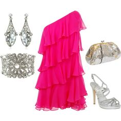 Pink Cocktail Dress Outfit (New Years), created by glennadesigns on Polyvore