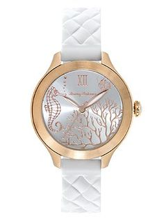 Women's Wrist Watches - Tommy Bahama  Womens 10018339 Waikiki Reef Analog Display Japanese Quartz White Watch >>> Click on the image for additional details.